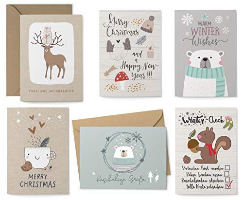KuschelICH 12er Weihnachtskarten Set - 8 Postkarten, 4 Klappkarten mit Umschlag - Grußkarten 6 unterschiedliche Weihnachtsmotive je 2 Stück (Hygge)