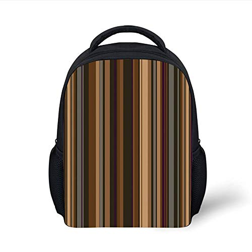 Kids School Backpack Abstract Decor,Retro Vertical Striped Background in Different Shades of Earthen Tones Image,Tan Brown Plain Bookbag Travel Daypack