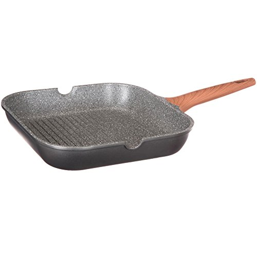 Secret de gourmet Poêle Grill Carrée en Aluminium, Revêtement en Granit, 28 x 28 x 6 cm
