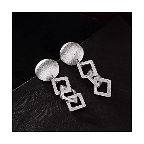 XIANNVQB Pendientes para Mujer - S925 Personalidad Geometría Cepillada Simple Pendientes De Mujeres Europeas Y Americanas Orejas Colgante Joyería Encanto, Mate, 1 Par