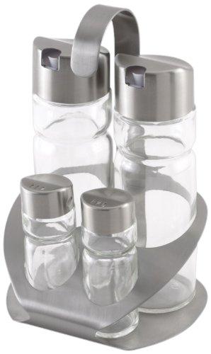 Monix Sabor - Vinagreras de Acero Inoxidable y Cristal, 4 Unidades