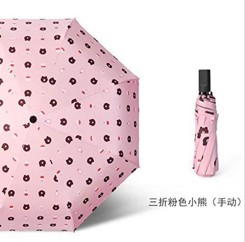 Regenschirme Neuer Kleiner Frischer Regenschirm Dreifach Schwarzer Plastiksonnenschutz Anti-Uv Weiblicher Regenschirm Sonnenschirm-Pinker Bär