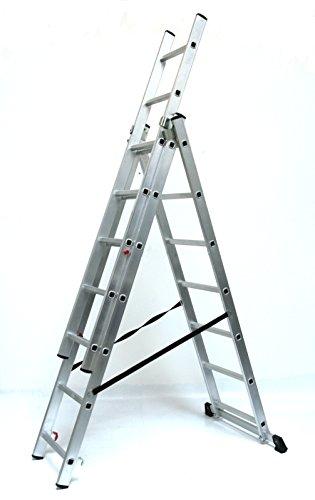 Alu-Schiebeleiter 3x7 Stufen/Sprossen, Arbeitshöhe: 5,2m, 193x41x17, Aluminium, Marke: Szagato (Mehrzweckleiter/Stehleiter, Anlegeleiter, Aluleiter, Kombileiter, Leiter)