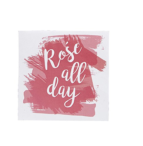 "Pack of 20"" Rose All Day"" Cocktail Size Paper Napkin Pink 5"" x 5"""