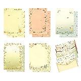W-BOXINS 36 piezas de papel de papelería forrado con 18 piezas de sobre y sobre de sello adhesivo, diseño floral lindo escritura de papel de carta, 5 patrones diferentes
