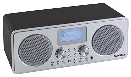 Telefunken RI1001 Internetradio (WLAN, Wecker mit Dual Alarm, MP3 Wiedergabe, USB Ladegerät) Silber/schwarz
