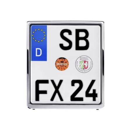 Kennzeichenhalter Für Schilder 180 X 200mm Chrome Hochglanz Metachrom Auto