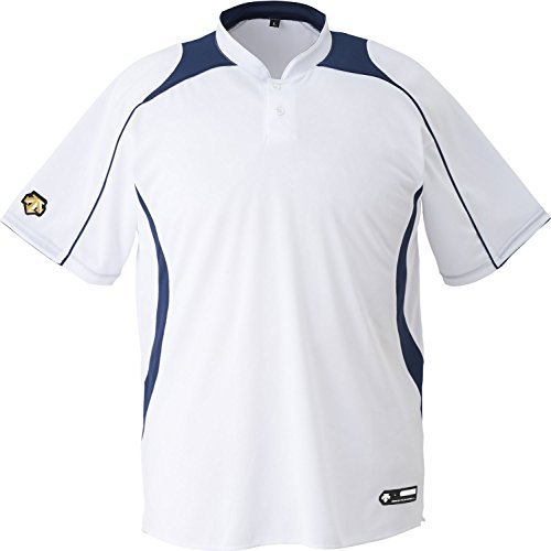 DESCENTE(デサント) 野球 立衿2ボタンベースボールシャツ ホワイト×ネイビー Mサイズ DB110B