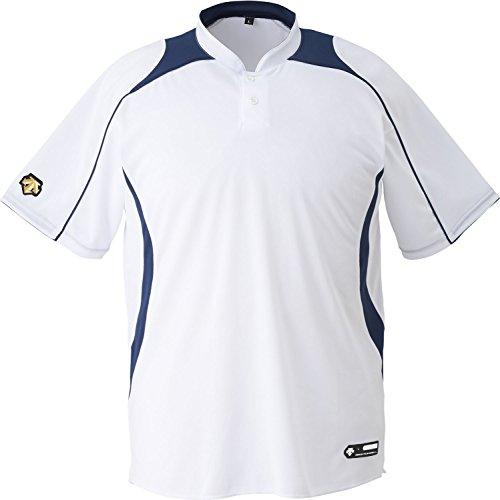 DESCENTE(デサント) 野球 ジュニア 立衿2ボタンベースボールシャツ ホワイト×ネイビー 160cm JDB110B