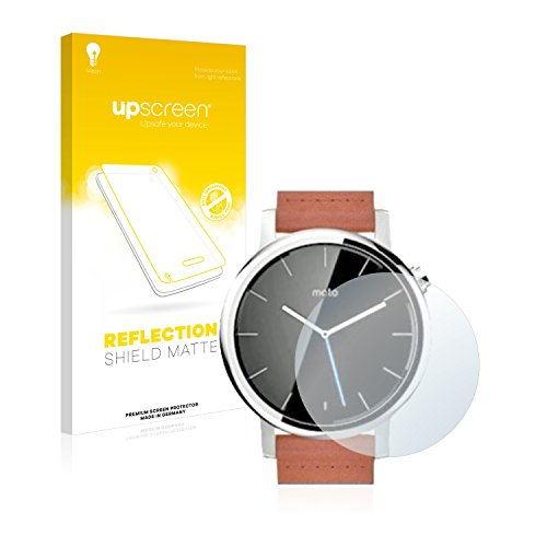 upscreen Entspiegelungs-Schutzfolie kompatibel mit Motorola Moto 360 42 mm (2. Generation) – Anti-Reflex Bildschirmschutz-Folie Matt