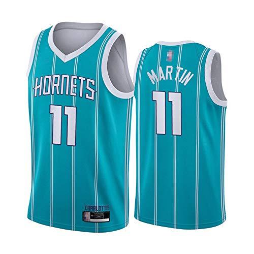 HS-XP 2021 Jersey De Baloncesto De Los Hombres De Ocio - NBA Charlotte Hornets # 11 Cody Martin # Fitness Moisture Wickingbreathable Flojo, Sin Mangas, Vestida De Cuello En V,Azul,L(175~180cm)