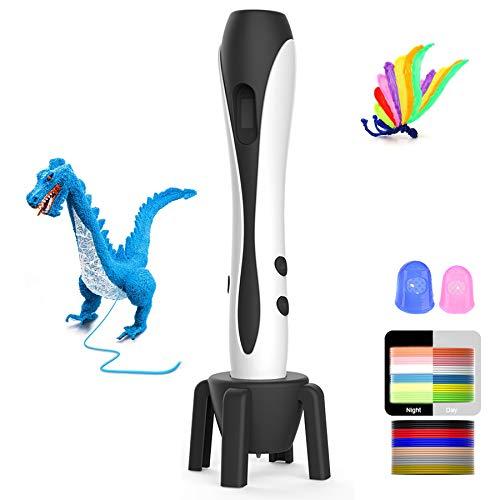 Pluma 3D Pluma de impresión 3D para niñoscon un juego completo de 12 colores y pantalla LCD, lápiz 3D compatible con PLA y ABS,Protectores de Dedos, Mejor Regalo Creativo para Niños y Adulto