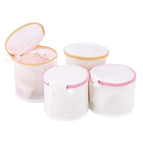 [Amazonブランド] Umi.(ウミ) 洗濯ネット 円筒型 ブラ ランドリー ネットバッグ 洗濯袋 4ピースセット(2L+2M)ループ付き