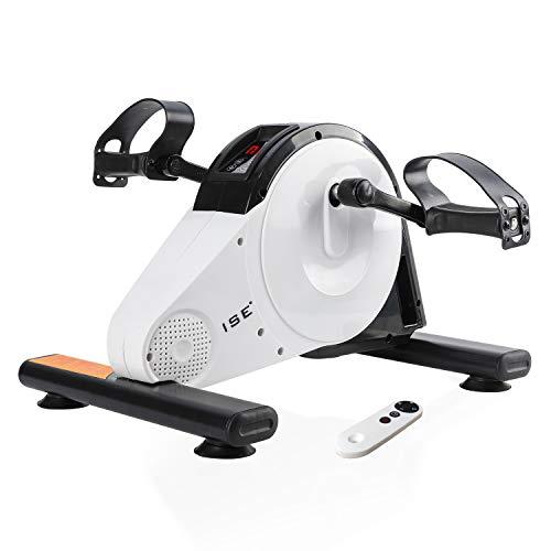 ISE Mini Vélo d'Appartement Pédalier Pliable Résistance Réglable Ecran LCD avec télécommande, Appareil pour Travailler Jambes et Bras, Musculation Fitness Cardio Sport, SY-8117 (Blanc)