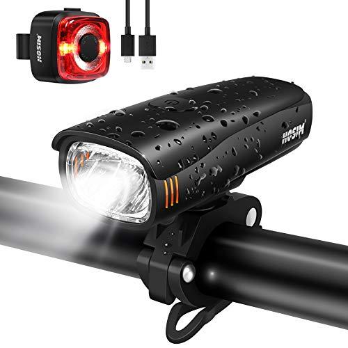 Hosim Fahrradlicht Set, Wiederaufladbare USB Fahrradlampen, StVZO zugelassenes LED Licht für Fahrrad mit Samsung 2600 mAh Akku