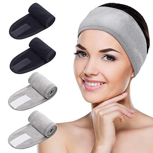 MELLIEX 4 Piezas Diadema de Maquillaje, Diadema Toalla Ajustable Pelo Banda con Cinta Mágica Para Bañarse Yoga Spa Deportes(Gris,Negra)