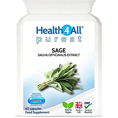 Sage Strong 2500mg 60 Capsules (V) Purest- no additives Capsules (not Tablets). Works for Hot Flushes, Night Sweats and Menopause Symptoms. Vegan. Made by Health4All