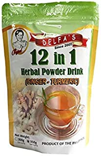Delfa's Food Products Inc. 12-in-1 Turmeric - Ginger Herbal Powder Drink - Best from the Philippines - Easily dissolves in...
