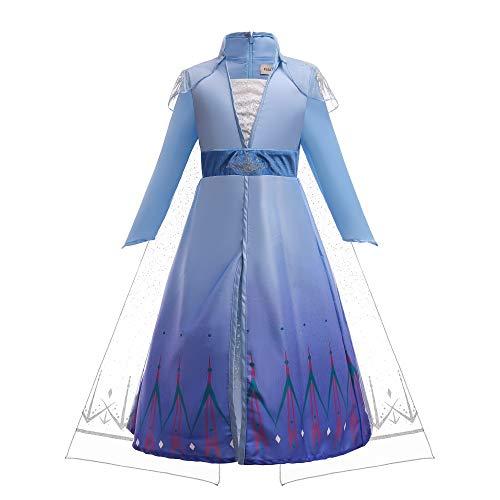ELSA & ANNA E315 - Disfraz de reina de la nieve para nias, disfraz de Halloween, disfraz de cosplay (6-7 aos)