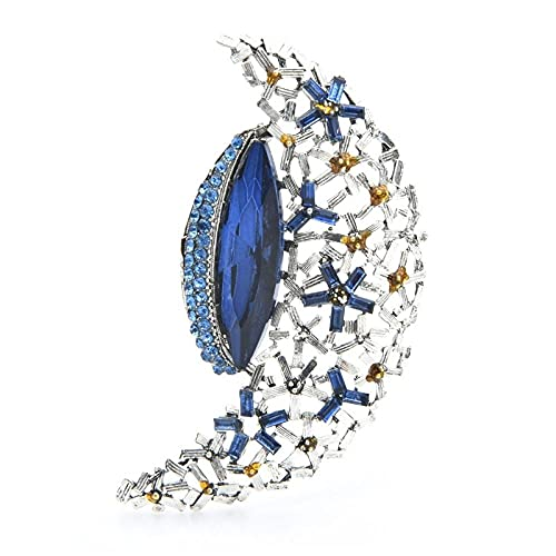 GLKHM Mujer Broches Broches De Luna De Cristal Azul De Moda Broches De Mujer