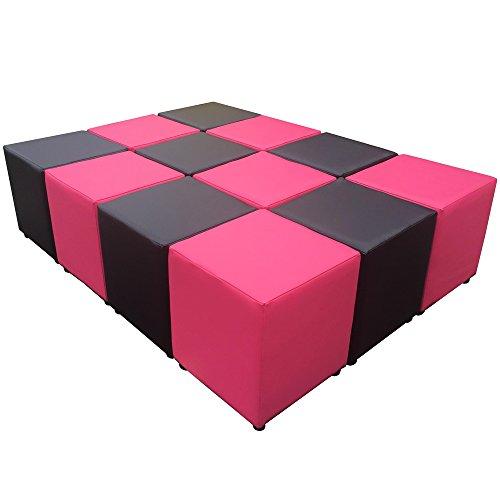 Footstools2u Douze Noir et Rose Simili Cuir Cube sièges – Idéal d'assise.
