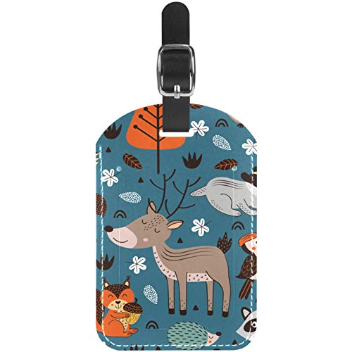 Luggage Tags Forest Animals Fox Owl Hedgehog Sloth Leather Travel Suitcase Labels 1 Packs