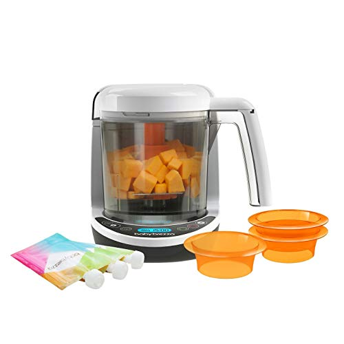 Baby Brezza One Step Food Maker, with 1 Baby Food Maker, 3 Reusable Food Pouches, 3 Easy-Fill Funnels, White