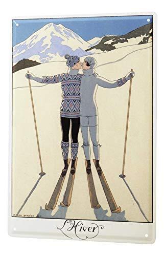 LEotiE SINCE 2004 Blechschild Dekoschild Küche Garage Sport Paar Skifahren Deko Wand Schild 20X30 cm
