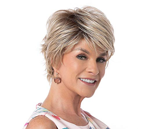 """Anytime Large Cap Wig Color Brown Blonde - Toni Brattin Wigs 4.5"""" Short Layered Textures Changelite Kanekalon Heat Friendly Synthetic Subtle Sweeping Bangs Wavy Back Bundle MaxWigs Hairloss Booklet"""