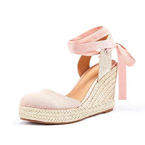 Ermonn Womens Espadrilles Wedge Sandals Platform Closed Toe Ankle Strap Lace Up Summer Shoes