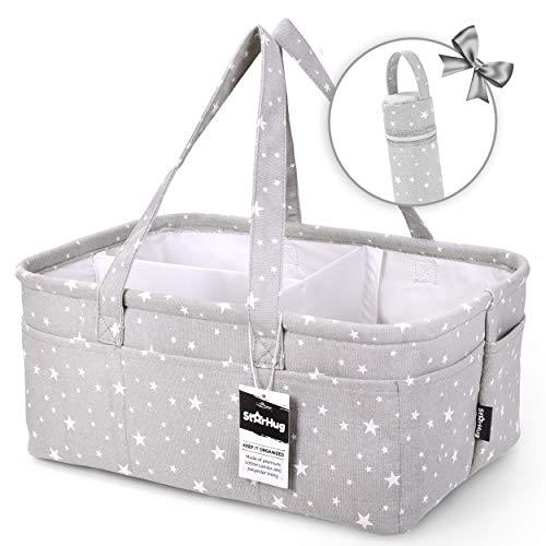 StarHug Baby Diaper Caddy Organizer - Baby Shower Gift Basket | Large Nursery Storage Bin for Changing Table | Car Travel Tote Bag | Newborn Registry Must Have (Diaper Caddy + Bottle Bag)