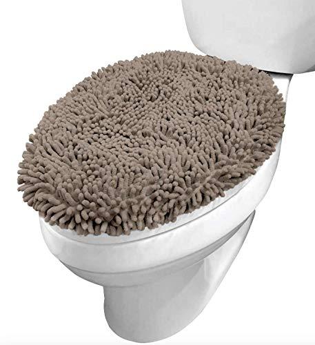 Funda para tapa de inodoro de felpa, de lujo, de felpa, 19,5 x 18,5 cm, de tamaño grande, muchos colores, extra suaves y absorbentes, lavable, se adapta a la mayoría de las tapas de inodoro de baño, color beige