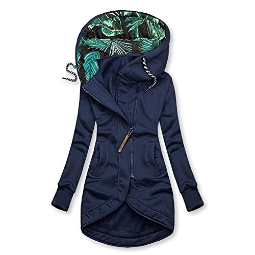 Pianshanzi Outwear - Sudadera con capucha para mujer, con cremallera, forro largo, para otoño e invierno, manga larga, jersey con capucha, D Marine, XL