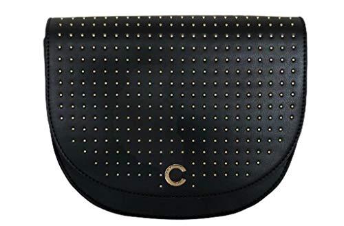 Carrera Jeans - Bolso de mujer con correa extraíble, elegante, con tachuelas, cierre magnético, modelo CB1303 (negro)