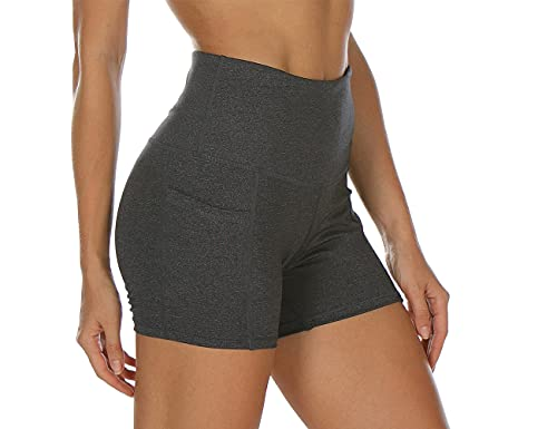 icyzone icyzone Damen Kurze Sporthose Fitness Tights Shorts Hohe Taille Kurz Yoga Leggings (S, Charcoal)