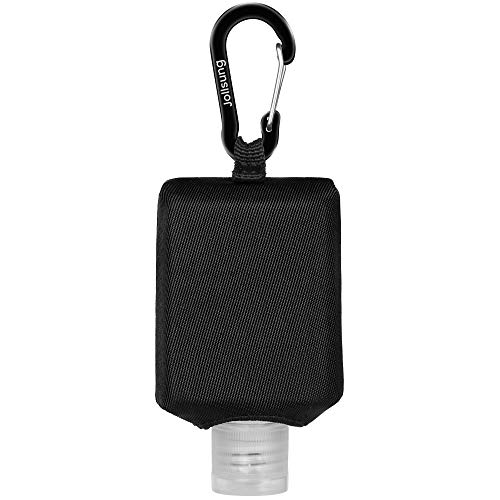 Hand Sanitizer Bottle Case Holder, Jollsung Travel Size Empty Bottle Refillable Containers for Soap, Lotion, and Liquids - 60ML/2 oz Flip Cap Reusable Bottles with Carabiner Carriers (Black)