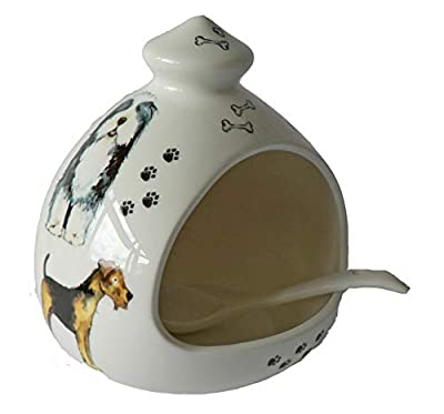 crackinchina Dog salt pig. Large porcelain salt pig with ceramic spoon by crackinchina