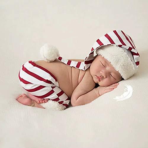 Pasgeboren Fotografie Prop Santa Gestreepte Broek Outfits en Lange Gebreide Muts Baby Maandelijkse Foto Props Kostuum Voor Baby Meisje Jongen