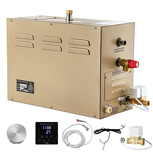 CGOLDENWALL 6KW Commercial Self-Draining Steam Generator Shower System Home Steam Bath Spa Generator 30 min to 12 Hours with Auto Drain 95-131℉ For suitable space heating 6 m³/212 Cubic feet (6KW)