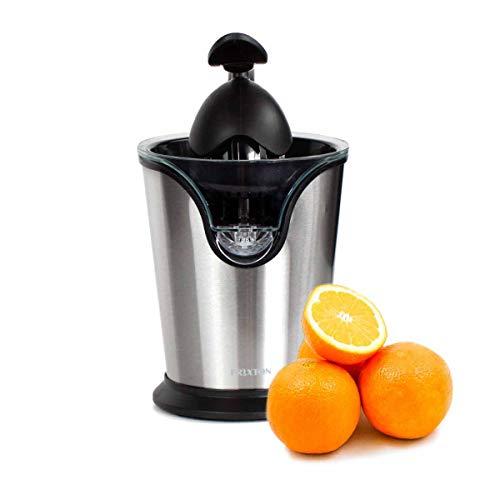 PRIXTON XP2- Exprimidor Electrico de Naranjas con palanca, Exprime Zumos Fácilmente con 85W de Potencia y 524 ml de Capacidad, Negro/Acero Inoxidable, Medidas 17x17x22,5cm
