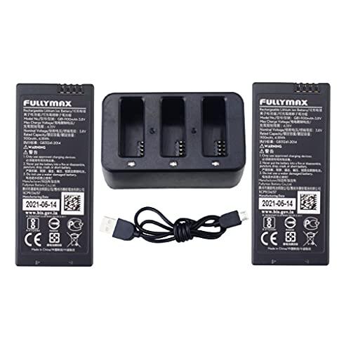 ZYGY 2pcs 3.8V 1100mAh Batería de Litio & 3en1 Cargador para Tello RC Drone-Negro