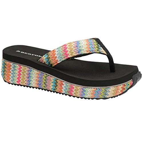 Dunlop Sandalias bajas con cuña para mujer, rafia, playa, verano, zapatos de verano, tallas 3-8