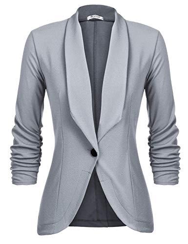 Unibelle Damen Blazer Cardigan Dünn 3/4 Längere Elegant Leicht Bolero Jacke Blazer Slim Fit Anzug Trenchcoat , Aa-hellgrau, 36(Herstellergröße:S)