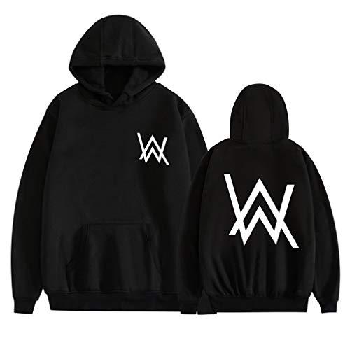 Männer Frauen Kapuzenpulli, Langarm-3D Printed Alan Walker Sweatshirt, Unisex Paar Wear, Lässige Printed Drawstring Hoodie,A,L