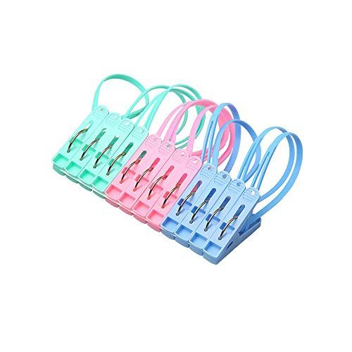 Enertai 12 stks Strandhanddoek Clips, Handdoek Pegs, Grote Handdoek Clips en Heldere Kleur Kunststof Quilt Clips voor Ligbedden, Ligstoelen, Zwembad Stoelen, Wasserij en Meer