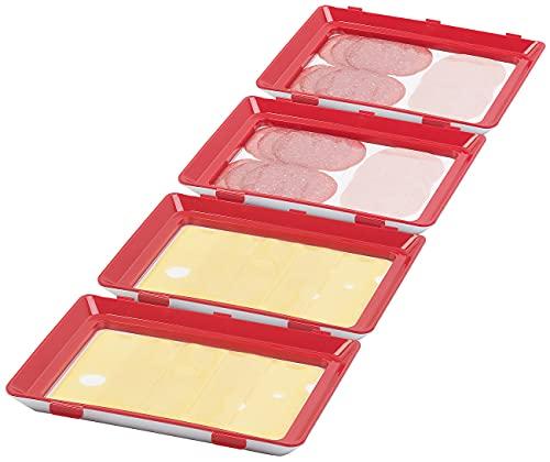 Rosenstein & Söhne Aufschnitt Dosen: 4er-Set Frischhaltedosen für Wurst- und Käse-Aufschnitt (Luftdichte Frischhaltedosen)