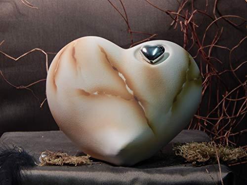 Herzurne aus Keramik, Sand, Braun marmoriert, Vol. ca. 0,55 Ltr.