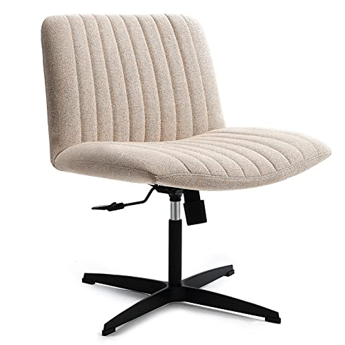 LEAGOO Fabric Padded Armless Home Office Desk Chair, 120° Rocking Mid Back Ergonomic Chair Computer Task Chair, Swivel Vanity Chair with No Wheels