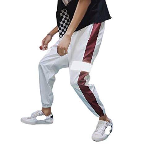 Pantalones Harem Informales para Hombre, Moda, Rayas Laterales, Costura de retales, Ajuste Holgado, pies con viga cnica, Tendencia, Pantalones Salvajes X-Large