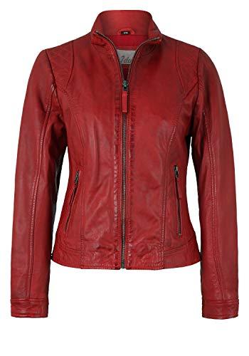 7eleven Damen Lederjacke im klassischen Design red, 4XL/48